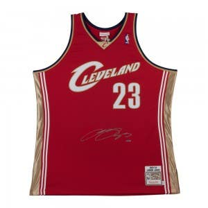 LeBron James Autographed 2003-04 Cleveland Cavaliers Wine Authentic Mitchell & Ness Jersey