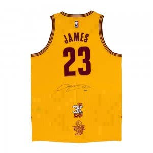LeBron James Autographed Cleveland Cavaliers Authentic Adidas Alternate Gold Jersey With 3x NBA Finals MVP Logo & 2016 NBA Finals Championship Logo