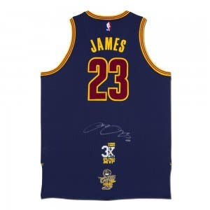 LeBron James Autographed Cleveland Cavaliers Authentic Adidas Alternate Blue Jersey With 3x NBA Finals MVP Logo & 2016 NBA Finals Championship Logo