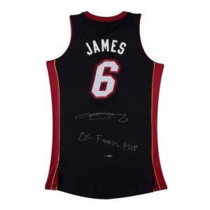 LeBron James Autographed & Inscribed 2X Finals MVP Black Heat Jersey