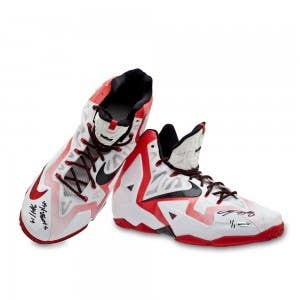 LeBron James Autographed & Inscribed Game-Used Nike LeBron 11 Shoes (vs. Nuggets 3/14/14)
