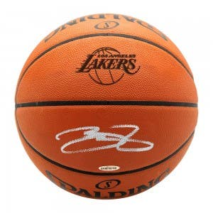 LeBron James Autographed Los Angeles Lakers Logo Stamp Authentic Spalding Basketball