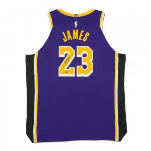 LeBron James Autographed Los Angeles Lakers Purple Authentic Nike Jersey
