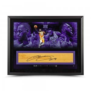 """LeBron James Autographed NBA Game-Used Floor """"It's Time"""" 36 x 24"""