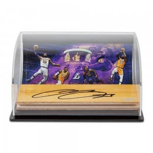 """LeBron James Autographed NBA Game-Used Floor With """"Purple & Gold"""" 10 x 8 Photo Curve Display"""
