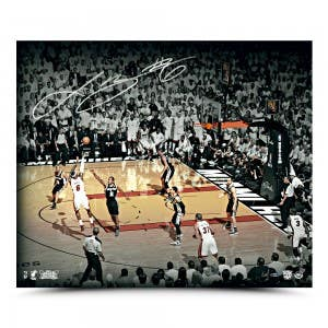 LeBron James Autographed Shot Photo