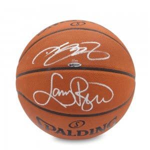 LeBron James & Larry Bird Signed Spalding Basketball