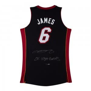 "LeBron James Signed & Inscribed ""2x NBA Champs"" Authentic Miami Heat Black Jersey"