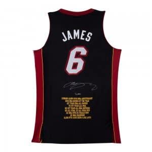 LeBron James Signed Miami Heat 10th Anniversary Stats Jersey