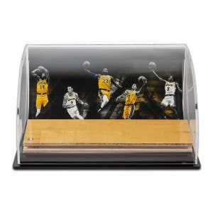Los Angeles Lakers Defenders of the Hardwood Game-Used Floor Piece Curve Display Case
