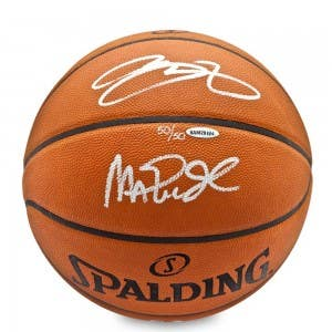 Magic Johnson & LeBron James Autographed Basketball