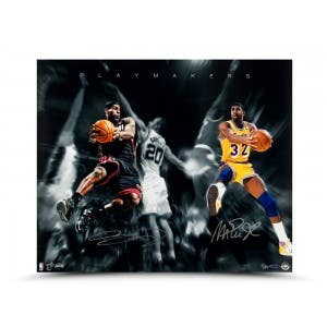 Magic Johnson & LeBron James Autographed Playmakers