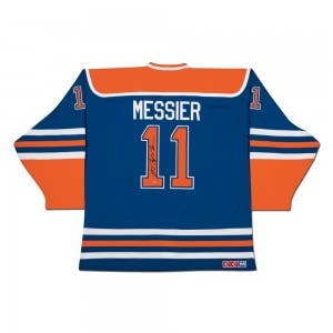 Mark Messier Autographed Edmonton Oilers Authentic CCM Heroes of Hockey Blue Jersey