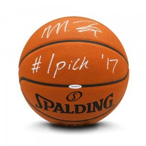 """Markelle Fultz Autographed & Inscribed """"#1 Pick '17"""" Authentic Spalding Basketball"""