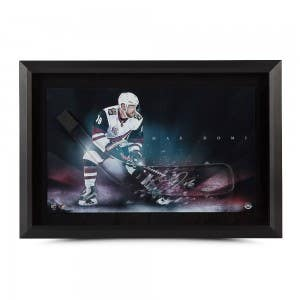 """Max Domi Autographed Stick Blade with """"Dynamic"""" Coyotes Picture (Framed)"""