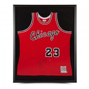 Michael Jordan Autographed 1984-85 Chicago Bulls Red Rookie Authentic Mitchell & Ness Jersey Framed