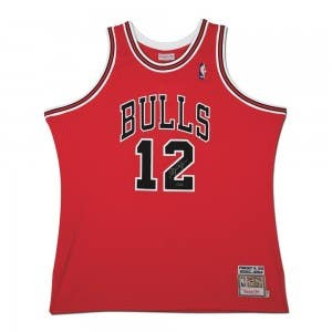 Michael Jordan Autographed 1990 Chicago Bulls Red No. 12 Authentic Mitchell & Ness Jersey