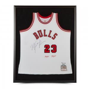 Michael Jordan Autographed & Embroidered Framed 1984-85 Chicago Bulls White Rookie Authentic Mitchell & Ness Jersey