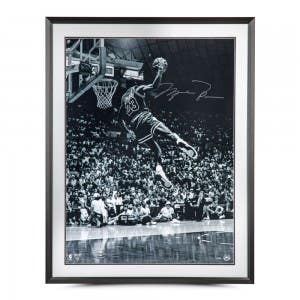 "Michael Jordan Autographed ""Frozen in Time"" Framed 30x40"