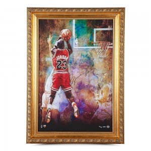 "Michael Jordan Autographed ""The Shot"" Framed 24x36"