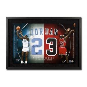 "Michael Jordan Autographed UNC/Bulls ""Championship Shots"" Jersey Numbers Display - Framed"