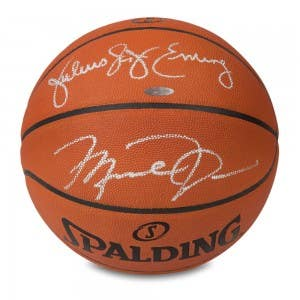 Michael Jordan & Julius Erving Autographed Authentic Spalding Basketball