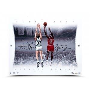 Michael Jordan & Larry Bird Autographed Match Up