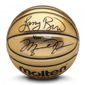 Michael Jordan & Larry Bird Autographed Molten Gold Trophy Basketball