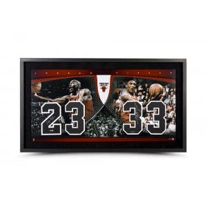 Michael Jordan Scottie Pippen Autographed & Framed Jersey Numbers Piece