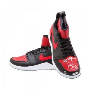 Michael Jordan & Serena Williams Autographed & Inscribed Red & Black Nike Court Air Jordan 23 Shoes