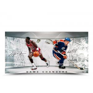 "Michael Jordan & Wayne Gretzky Signed Game Changers 36"" x 18"""