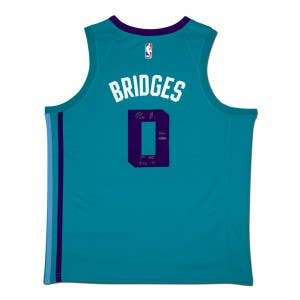Miles Bridges Autographed & Inscribed Charlotte Hornets Teal Nike Swingman Jersey