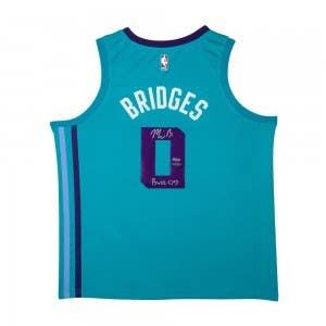 "Miles Bridges Autographed & Inscribed ""Buzz City"" Charlotte Hornets Swingman Nike Sponsor Logo Icon Edition Jersey"