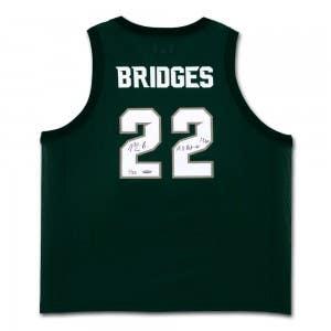 "Miles Bridges Autographed & Inscribed ""All-Big 10 '17, '18"" Michigan State Green Retro Brand Jersey"