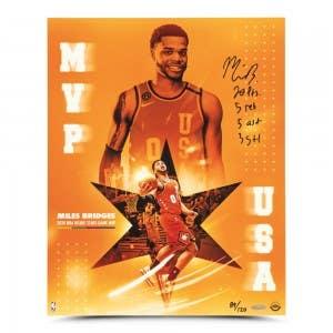 "Miles Bridges Autographed & Inscribed ""MVP"" 16x20"
