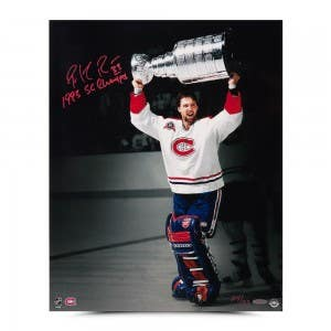 """Patrick Roy Autographed & Inscribed """"1992-93 Stanley Cup Celebration"""" 16 x 20"""