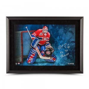 Patrick Roy Autographed & Inscribed Breaking Through 24 x 16