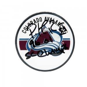 Patrick Roy Autographed & Inscribed Colorado Avalanche Acrylic Puck
