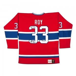 Patrick Roy Autographed & Inscribed Red Mitchell & Ness Vintage Canadiens Jersey