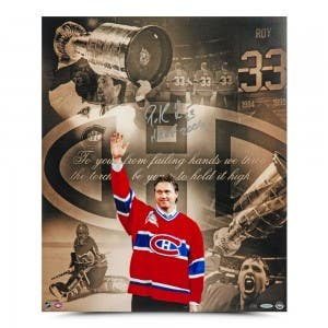 """Patrick Roy Autographed & Inscribed """"Retirement Night"""" 20"""" x 24"""""""
