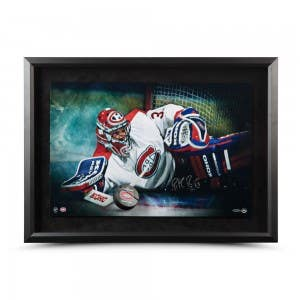 """Patrick Roy Autographed """"Save"""" Breaking Through 24 x 16"""