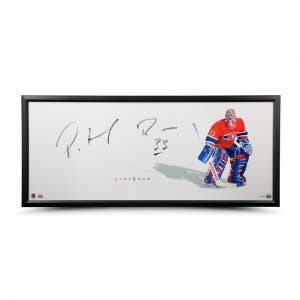 """Patrick Roy Autographed The Show """"Stand-up"""" 46 x 20 Framed"""