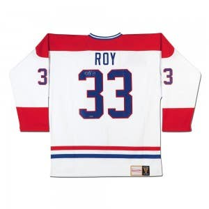 Patrick Roy Autographed White Mitchell & Ness Canadiens Jersey