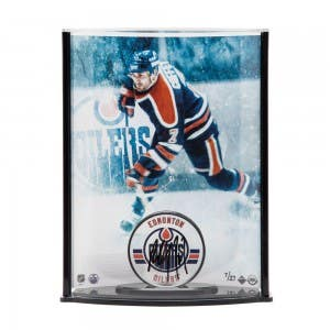 Paul Coffey Autographed Edmonton Oilers Puck with Oilers Picture Curve Display