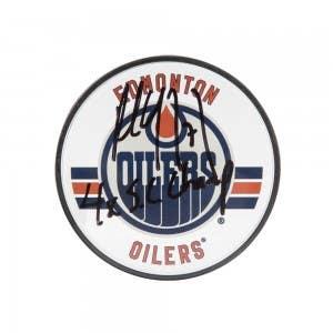 Paul Coffey Autographed & Inscribed Edmonton Oilers Acrylic Puck
