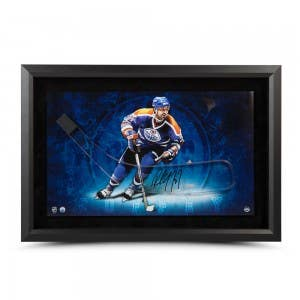 Paul Coffey Autographed Stick Blade with Edmonton Oilers Picture – Framed