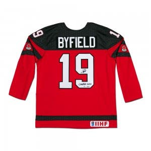 "Quinton Byfield Autographed and Inscribed ""2020 Gold"" Team Canada Nike Jersey"