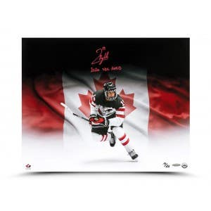 """Quinton Byfield Autographed & Inscribed """"2020 WJC GOLD"""" 20x16"""