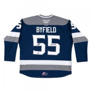 Quinton Byfield Autographed & Inscribed CCM Sudbury Wolves Blue Jersey