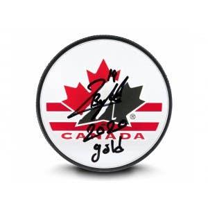 Quinton Byfield Autographed & Inscribed Team Canada Acrylic Hockey Puck